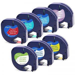 7 Pack Rubans d'étiquette, 91200 Étiquettes en Papier LetraTag, 12267 91201 91202 91203 91204 91205 Étiquettes en Plastique LetraTag, Compatible avec Dymo LetraTag LT-100H LT-100T Plus 12mm x 4m de la marque MarkField image 0 produit