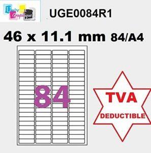 840 Étiquettes Adhésives 46 x 11.1 mm 10 feuilles de 84 étiquettes - mini étiquette autocollante Blanc Mat - pour imprimantes Laser et Jet d'encre référence univers UGE0084R1 compatible de la marque UNIVERS GRAPHIQUE image 0 produit
