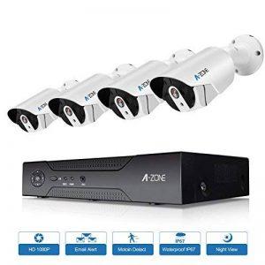 A-ZONE Système de Surveillance Full HD 1080 P 8 Canaux NVR ensemble Filaire avec 4 pcs CCTV Caméra de Sécurité pour la Maison Intérieur Sécurité Extérieure pour la Détection de Mouvement Nuit Vision Télécommande Caméra avec 1 To de Disque Dur de la marque image 0 produit