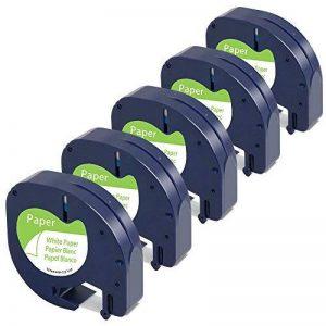 Airmall Lot de 5 Ruban Cassette Équivalent à Dymo Letratag Recharge Dymo 91200 S0721510 Papier Noir sur Blanc 12mm x 4m Compatible avec Dymo LetraTag LT-100H LT-100T LT-110T QX 50 XR XM 2000 Plus de la marque Airmall image 0 produit