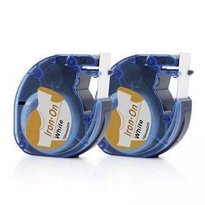 Airmall Étiquettes en Tissu Thermocollant Compatible pour DYMO LT 18771 LetraTag Imprimantes 12mm x 2M Imprimées en Noir Sur Fer Blanc Sur Vêtements 2-Packs de la marque Airmall image 0 produit