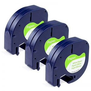 Aken Compatible Dymo LetraTag Ruban, 3x Cassette Ruban Blanc 12mm x 4m, Dymo LetraTag Ruban Autocollant 91200 S0721510 Pour Imprimante d'étiquettes Dymo de la marque Aken image 0 produit