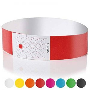 Amazy Bracelets d'identification (Lot de 100) | numérotés – Bracelets de sécurité imprimables pour contrôler l'accès aux événements et soirées (Rouge) de la marque Amazy image 0 produit