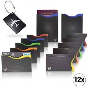 Amazy Protecteur de cartes de crédit RFID NFC/Sans contact (lot de 12) avec étiquette de bagage – Protection contre vol d'identité et données avec codage couleur pour cartes de crédit de la marque Amazy image 0 produit