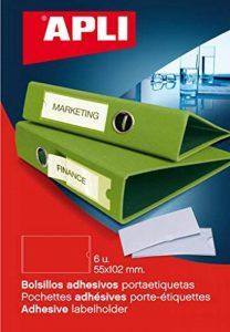 APLI Pochette de 6 porte- étiquettes adhésifs 55 x 102 mm Dos de Classeur de la marque Apli image 0 produit