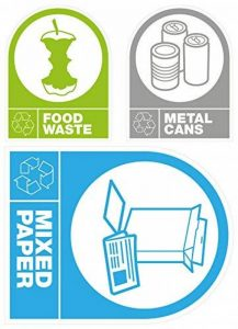 Autocollant Étiquettes: Recyclage Déchets Alimentaires, canettes en métal & mixte papier de la marque Rowan image 0 produit