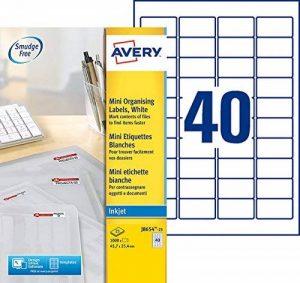 Avery 1000 Mini Étiquettes Autocollantes (40 par Feuille) - 45,7x25x4mm - Impression Jet d'Encre - Blanc (J8654) de la marque Avery image 0 produit