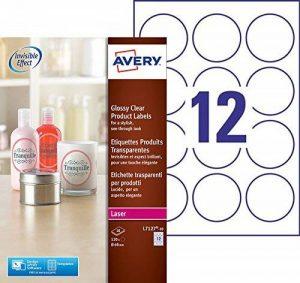 Avery 120 Étiquettes Autocollantes Rondes (12 par Feuille) - Ø60 mm - Impression Laser - Brillant - Transparent (L7127) de la marque Avery image 0 produit