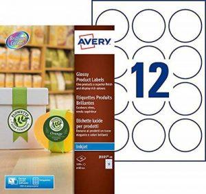 Avery 120 Étiquettes Autocollantes Rondes (12 par Feuille) - Ø60mm - Impression Jet d'Encre - Brillant - Blanc (J8105) de la marque Avery image 0 produit