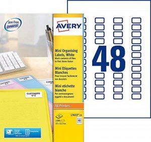 Avery 1200 Mini Étiquettes Autocollantes (48 par Feuille) - 22x12,7mm - Impression Laser - Blanc (L7653) de la marque Avery image 0 produit