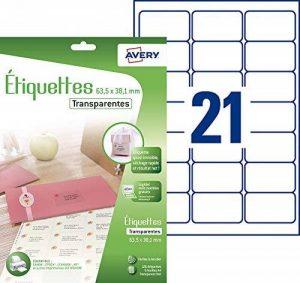Avery 126 Etiquettes Autocollantes (21 par Feuille) - 63,5x38,1mm - Impression Jet d'Encre - Transparent (J8560CL) de la marque Avery image 0 produit