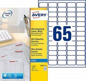 Avery 1625 Mini Étiquettes Autocollantes (65 par feuille) - 38,1x21,2 - Jet d'encre - Impression Jet d'encre - Translucide (J8551) de la marque Avery image 0 produit