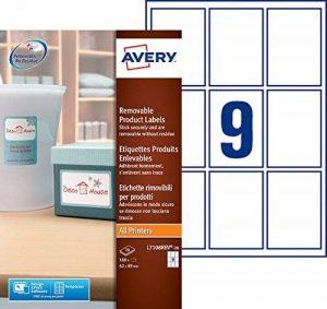 Avery 180 Etiquettes Autocollantes Amovibles (9 par Feuille) - 62x89mm - Impression Laser, Jet d'Encre - Blanc (L7108REV) de la marque Avery image 0 produit