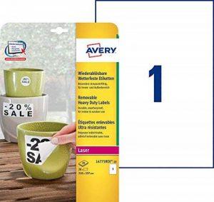 Avery 20 Etiquettes Autocollantes Ultra-Résistantes - 210x297mm - Impression Laser (L4775REV) de la marque Avery image 0 produit