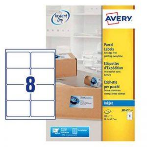 Avery 200 Etiquettes Autocollantes (8 par feuille) - 99,1x67,7mm - Impression Jet d'encre - Blanc - J8165 de la marque Avery image 0 produit
