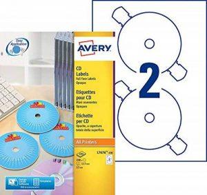 Avery 200 Etiquettes Autocollantes pour CD - Ø117mm - Impression Laser et Jet d'Encre - Blanc (L7676) de la marque Avery image 0 produit
