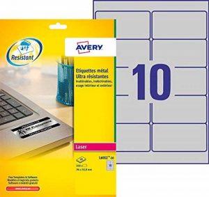 Avery 200 Etiquettes Autocollantes Ultra-Résistantes Métalliques - 96x50,8mm - Impression Laser (L6012) de la marque Avery image 0 produit