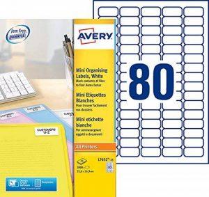 Avery 2000 Mini Etiquettes Autocollantes (80 par Feuille) - 35,6x16,9mm - Impression Laser - Blanc (L7632) de la marque Avery image 0 produit