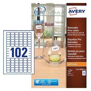 Avery 2040 Etiquettes Autocollantes de Prix Amovibles (102 par Feuille) - 26x16mm - Impression Laser, Jet d'Encre (L7115REV) de la marque Avery image 0 produit