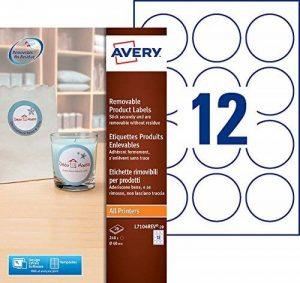 Avery 240 Etiquettes Autocollantes Amovibles Rondes (12 par Feuille) - Ø60mm - Impression Laser, Jet d'Encre - Blanc (L7104REV) de la marque Avery image 0 produit