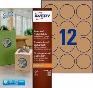 Avery 240 Etiquettes Autocollantes Rondes Couleur Kraft (12 par Feuille) - Ø60mm - Impression Laser, Jet d'Encre (L7106) de la marque Avery image 0 produit