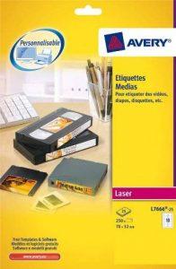 Avery 250 Etiquettes Disquettes - 70x52mm - Face Laser - Blanc (L7666) de la marque Avery image 0 produit