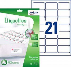 Avery 252 Étiquettes Autocollantes (21 par Feuille) - 63,5x38,1mm - Impression Jet d'Encre - Blanc (J8160) de la marque Avery image 0 produit