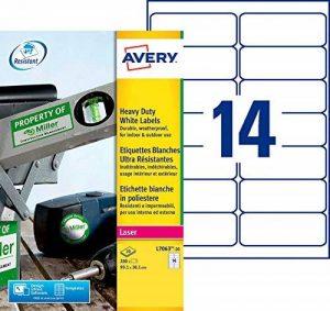 Avery 280 Etiquettes Autocollantes Ultra-Résistantes - 99,1x38,1mm - Impression Laser - Blanc (L7063) de la marque Avery image 0 produit