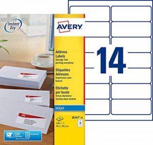 Avery 350 Etiquettes Autocollantes (14 Page par Feuille) - 99,1x38,1mm - Impression Jet d'Encre - Blanc - J8163-25 de la marque Avery image 0 produit