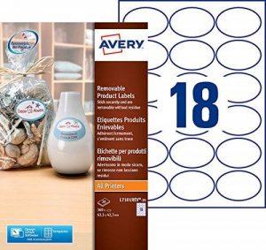Avery 360 Etiquettes Autocollantes Ovales (18 par Feuille) - 63,5x42,3mm - Impression Laser - Blanc (L7101REV) de la marque Avery image 0 produit
