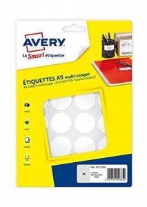 Avery 384 pastilles - Ø30mm - Planche A5 - Blanc (PET30W) de la marque Avery image 0 produit