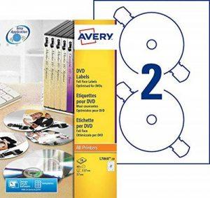 Avery 40 Etiquettes pour CD/DVD - Ø117mm - Impression Laser - Blanc (L7860) de la marque Avery image 0 produit