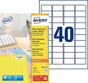 Avery 4000 Mini Etiquettes Autocollantes (40 par Feuille) - 45,7x25,4mm - Impression Laser - Blanc (L7654) de la marque Avery image 0 produit