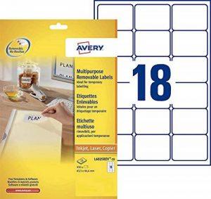 Avery 450 Etiquettes Autocollantes Amovibles (18 par Feuille) - 63,5x46,6mm - Impression Laser - Blanc (L6025REV) de la marque Avery image 0 produit