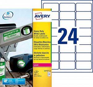 Avery 480 Etiquettes Autocollantes Ultra-Résistantes - 63,5x33,9mm - Impression Laser - Blanc (L4773) de la marque Avery image 0 produit