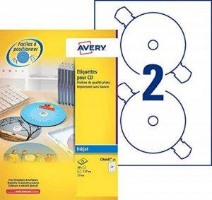 Avery 50 Etiquettes Autocollantes pour CD - Ø117mm- Impression Laser, Jet d'Encre - Blanc (C9660) de la marque Avery image 0 produit