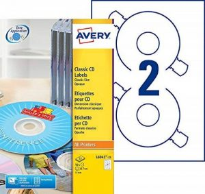 Avery 50 Etiquettes Autocollantes pour CD - Ø117mm- Impression Laser, Jet d'Encre - Blanc(L6043) de la marque Avery image 0 produit