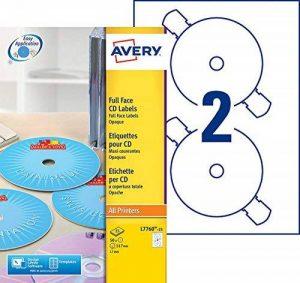 Avery 50 Etiquettes Autocollantes pour CD - Ø117mm- Impression Laser, Jet d'Encre - Blanc (L7760) de la marque Avery image 0 produit