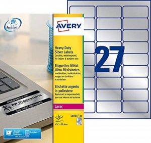 Avery 540 Etiquettes Autocollantes Ultra-Résistantes Métalliques - 63,5x29,6mm - Impression Laser (L6011) de la marque Avery image 0 produit