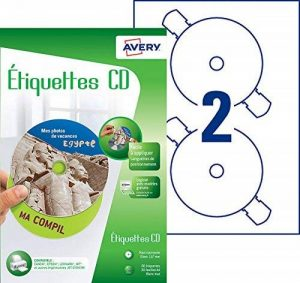 Avery 60 Etiquettes Autocollantes pour CD Maxi couvrantes - Impression Jet d'Encre - Blanc (J8676) de la marque Avery image 0 produit