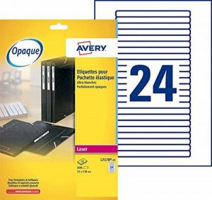 Avery 600 Etiquettes Autocollantes pour Chemise à Elastique - 134x11mm - Impression Laser - Opaque - Blanc (L7170) de la marque Avery image 0 produit