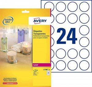 Avery 600 Étiquettes Autocollantes Rondes (24 par Feuille) - Ø40mm - Brillant - Transparent (L7780) de la marque Avery image 0 produit