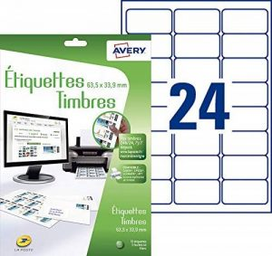 Avery 72 Etiquettes Autocollantes pour Timbres (24 par Feuille) - 63,5x33,9 mm - Impression Jet d'Encre - Blanc (J8159) de la marque Avery image 0 produit
