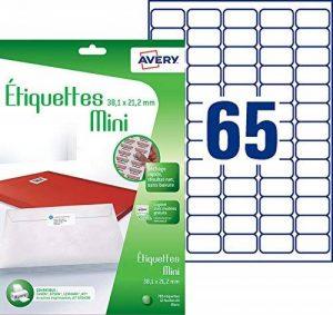 Avery 780 Etiquettes Mini Autocollantes (65 par Feuille) - 38,1x21,2mm - Blanc (J8651) de la marque Avery image 0 produit
