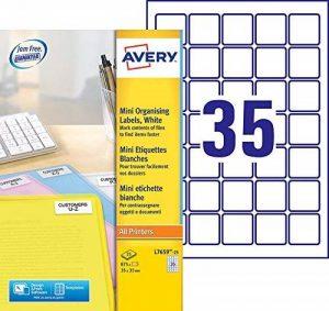 Avery 875 Mini Etiquettes Autocollantes (35 par Feuille) - 35x35mm - Impression Laser - Blanc (L7659) de la marque Avery image 0 produit