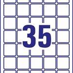 Avery 875 Mini Etiquettes Autocollantes (35 par Feuille) - 35x35mm - Impression Laser - Blanc (L7659) de la marque Avery image 1 produit