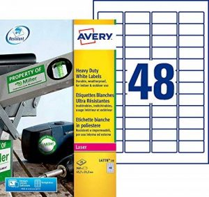 Avery 960 Etiquettes Autocollantes Ultra-Résistantes - 45,7x21,2mm - Impression Laser - Blanc (L4778) de la marque Avery image 0 produit