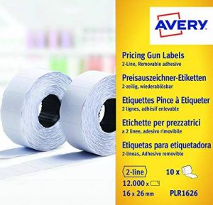 Avery Boîte de 10 rouleaux de 1200 Etiquettes Autocollantes Amovibles pour Etiqueteuse 2 lignes - 16x26mm - Blanc (PLR1626) de la marque Avery image 0 produit