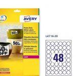 Avery - (L4716-20) - 960 étiquettes rondes adhésives de 30 mm ultra-résistantes de la marque Avery image 4 produit