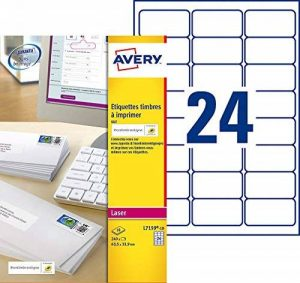 Avery L7159 Boîte de 240 Etiquettes Autocollantes pour Timbres (24 par Feuille) - 63,5x33,9mm - Impression Laser - Blanc de la marque Avery image 0 produit